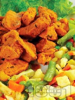 Хапки от свинско месо от шол с картофи, грах и зелен боб - снимка на рецептата